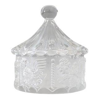 Vintage Crystal Carousel Lidded Dish Jar Merry-Go-Round Bowl