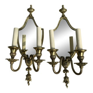 Vintage 1930s Two Light Mirrored Brass Wall Scones - a Pair For Sale