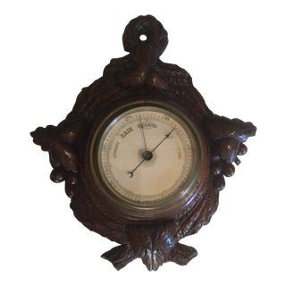 20th Century Black Forest Hand Carved Wood Barometer For Sale