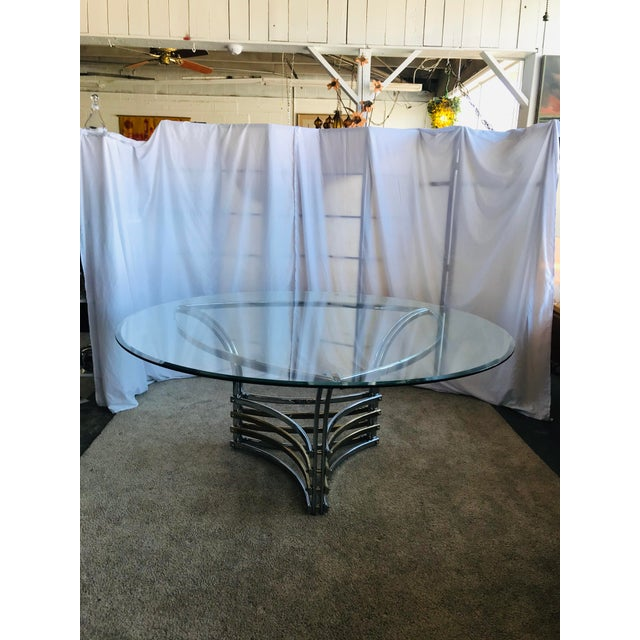 1980s Round Glass & Chrome/Brass Triangular Shape Dining Table For Sale - Image 13 of 13