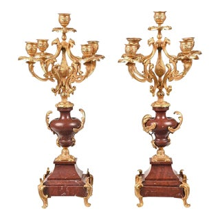 Gilt Bronze and Faux Marble French Candelabra - a Pair For Sale