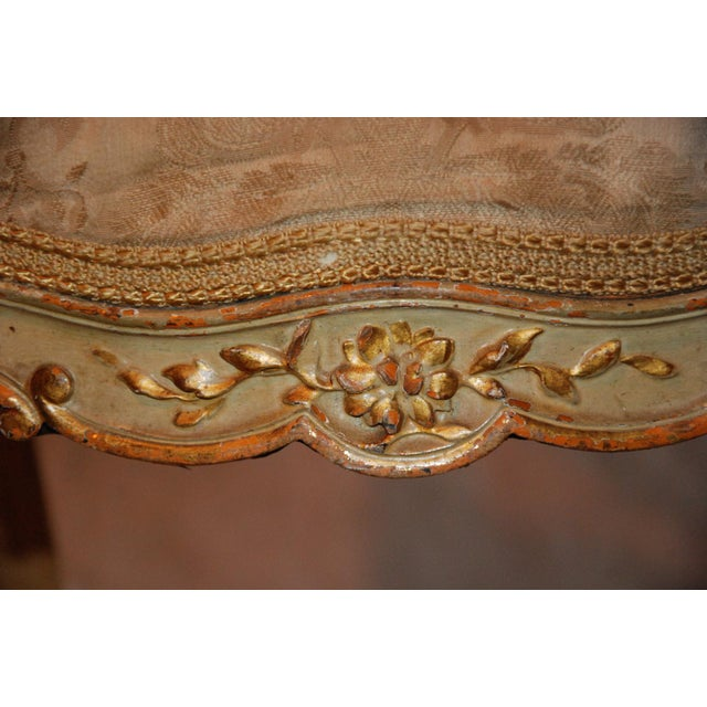 French Gilt & Painted Boudoir Chairs - A Pair For Sale - Image 4 of 11
