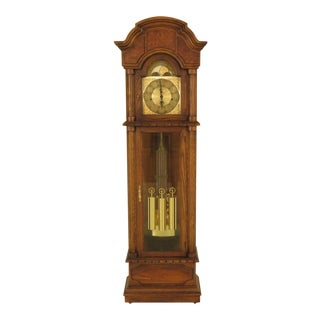 Seth Thomas Oak & Walnut Grandfather Clock For Sale