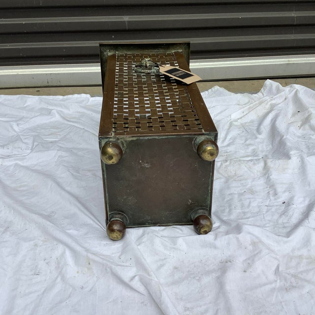 Brass Italian Woven Brass Umbrella Stand For Sale - Image 8 of 9