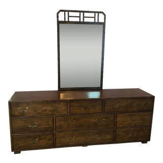Vintage Henredon Artefacts Collection 9 Drawer Dresser With Faux Bamboo Mirror For Sale