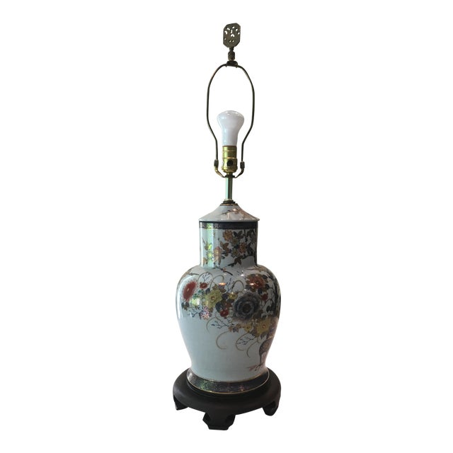 Asian Floral Table Lamp For Sale