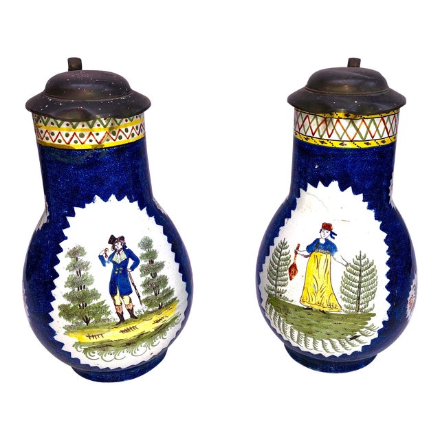 Antique Brussels Ceramic Pitchers With Pewter Lids - a Pair For Sale