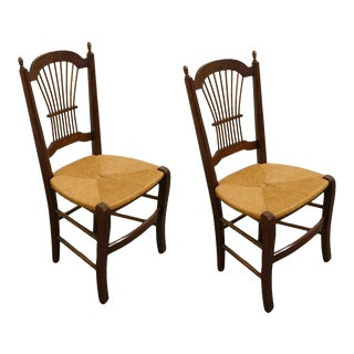 Solid Cherry Wheat Back Dining Side Chairs- Set of 2 For Sale