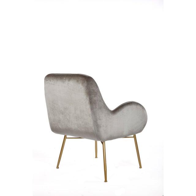 New Modern Gray Velvet Accent Chair For Sale - Image 4 of 5