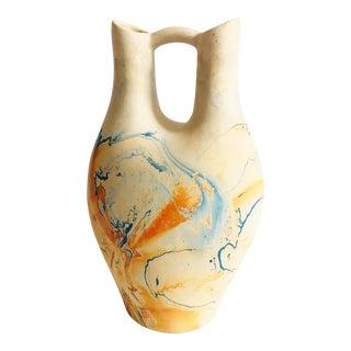 Vintage Large Nemadji Pottery Wedding Vase - Blue and Orange Swirls For Sale