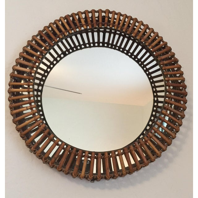 Vintage Umbra Rattan Wall Mirror by Matt Carr; Albini Style - Image 2 of 9