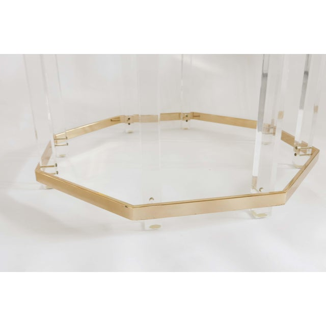 1960s Art Deco Charles Hollis Jones Brass and Lucite Octagonal Coffee Table For Sale In Orlando - Image 6 of 10