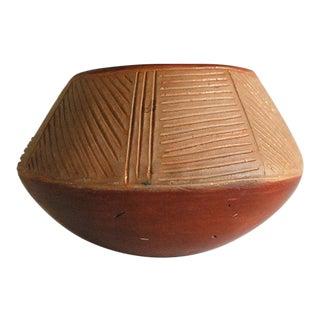 1940s San Juan Pueblo Redware Pottery Bowl For Sale