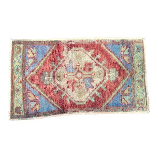 Vintage Faded Turkish Anatolian Handmade Blue and Red Small Rug For Sale