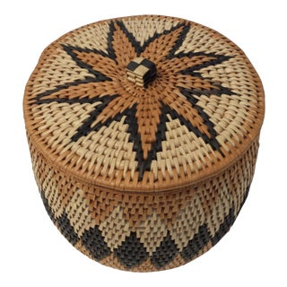 Vintage Zulu Woven Covered Basket For Sale