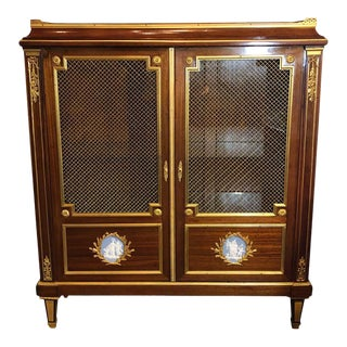 Louis XVI Style Bookcase Bibliotheque With Dore Bronze Mounts and Jasper Plaques For Sale