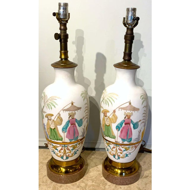 Pair of English chinoiserie Bristol opaline glass vases, now as lamps, each one decorated with gilt and colorful enamel,...