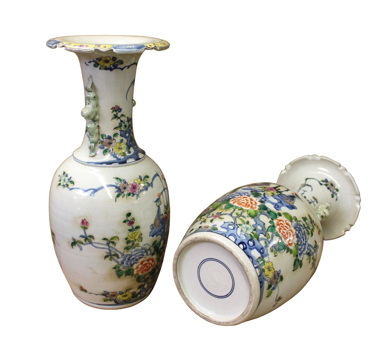 Pair Chinese Off White Porcelain Flower Birds Foo Dogs