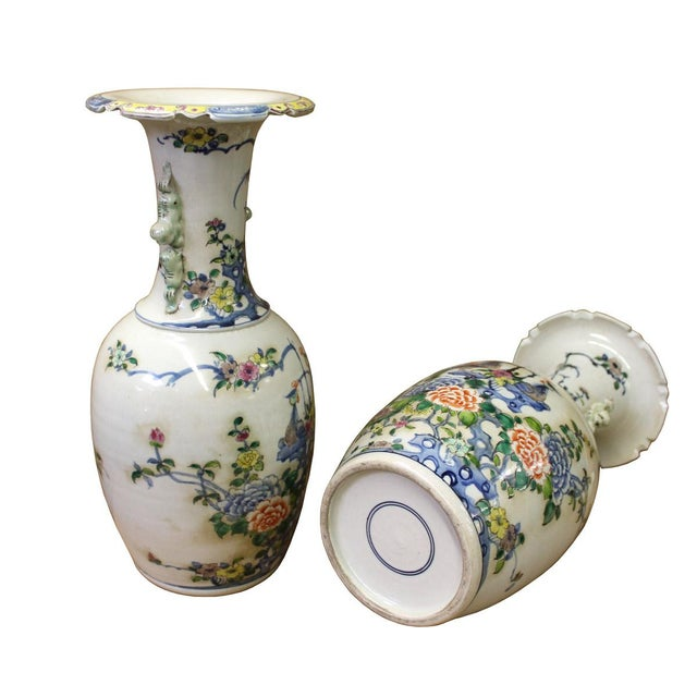 Pair Chinese Off White Porcelain Flower Birds Foo Dogs Accent Vases For Sale - Image 4 of 5