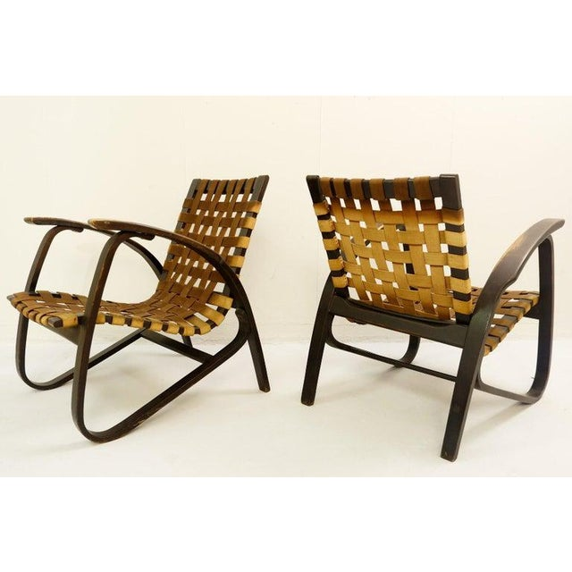 Brown Pair of Bentwood Armchairs by Jan Vanek for Up Závody, 1930s For Sale - Image 8 of 9
