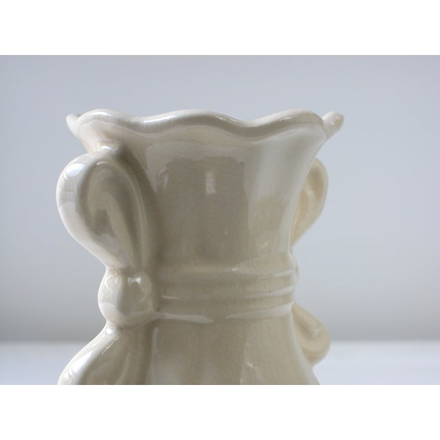 Cream Vase With Ribbon Handles For Sale - Image 7 of 9