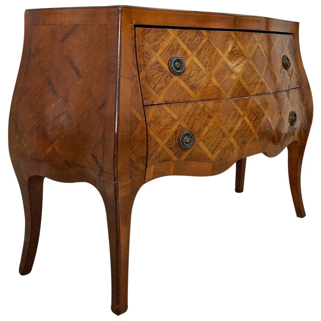 Louis XV Style Marquetry Bombe Commode: Italy, 1960s - Image 1 of 9