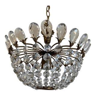 French Crystal Tiara Light For Sale