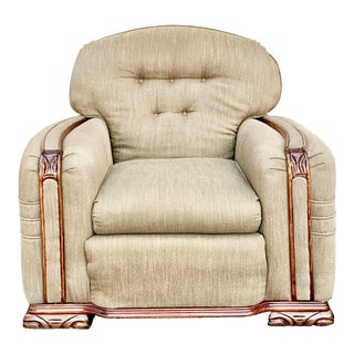 1930's Art Deco Burl Wood Upholstered Club Chair For Sale