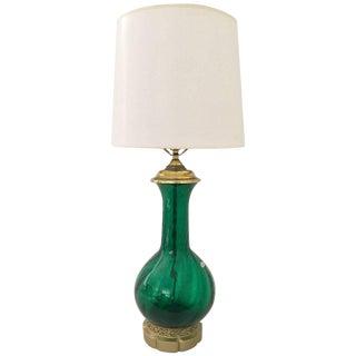 Blenko Mid-Century Glass Emerald Optic Lamp