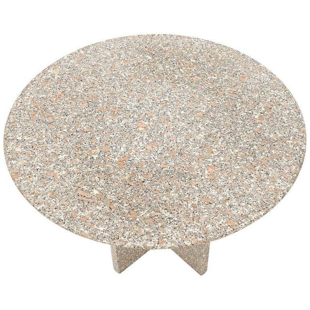 Round Granite Stone X Base Dining Dinette Center Table For Sale - Image 9 of 9