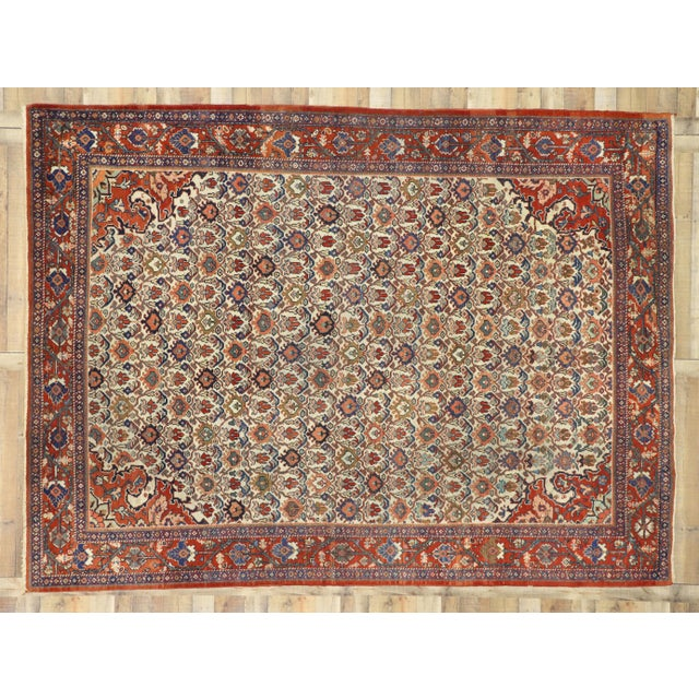 Red 1920s Antique Persian Mahal Rug- 8′8″ × 11′7″ For Sale - Image 8 of 10