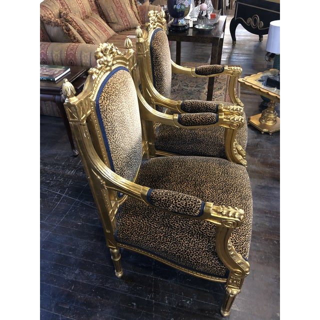 1930s French Louis Gold Gilt Chairs - a Pair For Sale - Image 5 of 10