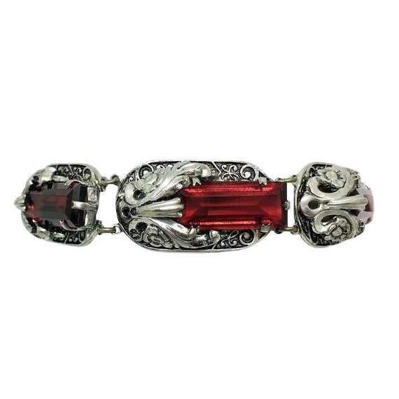Circa 1930s Ornate Faceted Red Glass Stone Bracelet For Sale