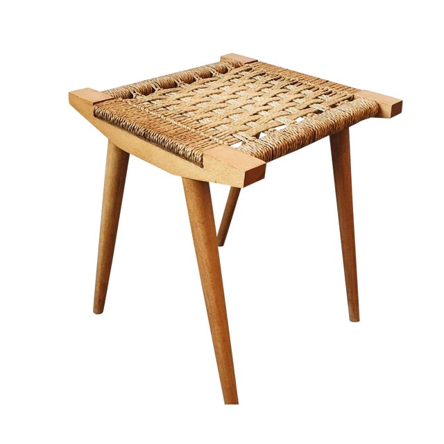 Mid Century Woven Stool For Sale