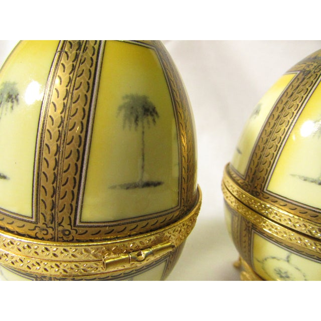 Art Nouveau Hinged Porcelain Egg Trinket Box With Palm Trees - A Pair For Sale - Image 3 of 7