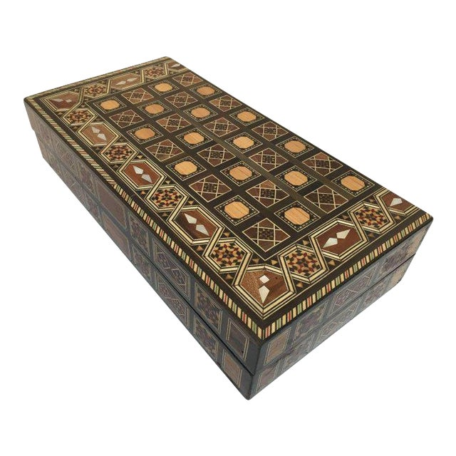 Syrian Inlaid Mosaic Backgammon and Chess Game Box For Sale