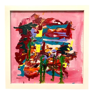 Original Abstract Pink Signed Painting For Sale