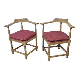 Vintage Mid Century Corner Chairs - A Pair For Sale