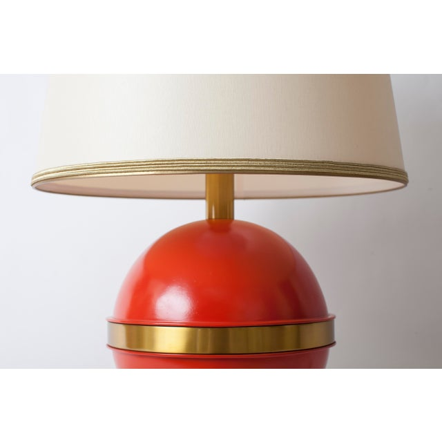 1970s 1970s Art Deco Bright Orange Nautical Brass Table Lamp For Sale - Image 5 of 7