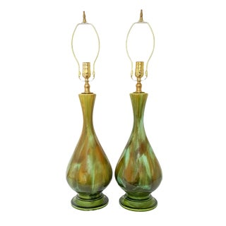 Mid-Century Modern Green Ombre Glaze Lamps - a Pair For Sale