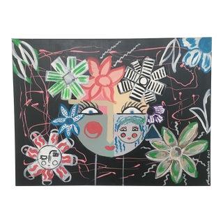 "Original Abstract ""Della"" Face Acrylic Painting"