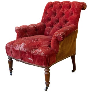 French 19th Century Armchair in Distressed Red Velvet For Sale