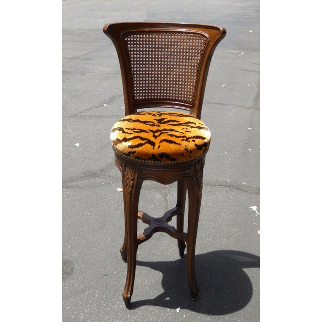 Vintage French Country Wood & Cane Barstools - Set of 3 - Image 10 of 11
