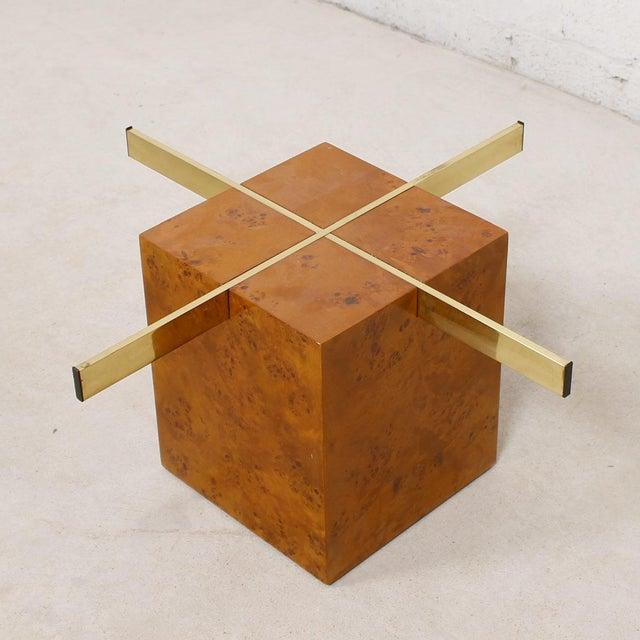 Milo Baughman X-Base Glass & Burled Wood Coffee Table For Sale - Image 5 of 9