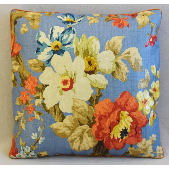 "Boho Chic Lee Jofa Jardin Floral Linen Feather/Down Pillows 21"" Square - Pair For Sale - Image 3 of 13"