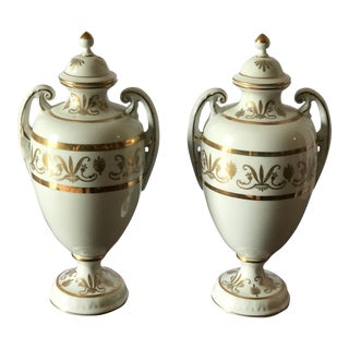 1920s Blanc De Chine Porcelain Urns with Gold Decorations - a Pair For Sale