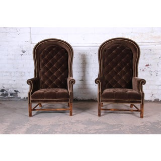 Midcentury Brown Velvet Porter's Chairs, Pair Preview