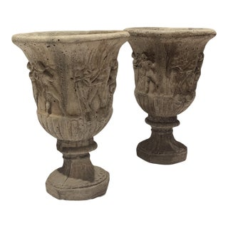 Antique Cast Stone Garden Urns - a Pair For Sale