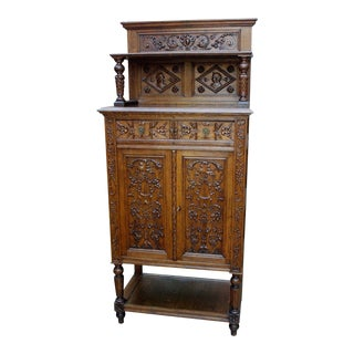 Antique French Oak 19th Century Renaissance Revival Gothic Vestry Sacristy Wine Altar Cabinet Bookcase For Sale