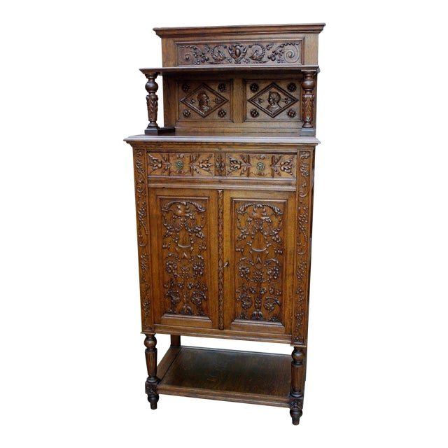 Antique French Oak 19th Century Renaissance Revival Gothic Vestry Sacristy Wine Altar Cabinet Bookcase For Sale